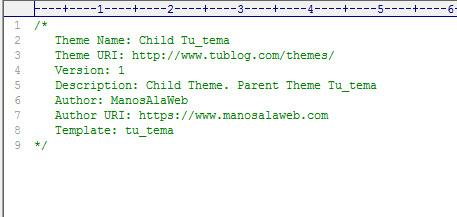 Código style.css en Thema Child