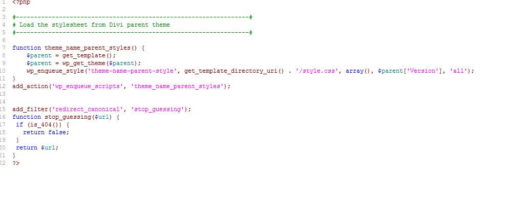 Código en functions.php